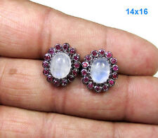 A+++ Rainbow Moonstone Pave Ruby 925 Sterling Silver Fine Stud Earring Jewelry