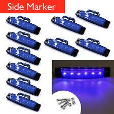 10x 12/24v 6LED Side Marker Light for Truck Trailer Indicator Signal Lamp Blue