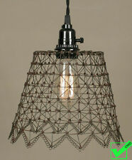 Vintage French Country Rustic SCALLOPED WIRE BELL PENDANT LIGHT Hanging Lamp