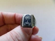 VINTAGE IN STERLING SILVER NIELLO Anello Iraq 1943 HAND MADE ww2? dimensioni P 556-4