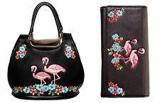 Banned Elegant Flamingo HANDBAG & WALLET SET Faux Leather VTG Rockabilly BLACK