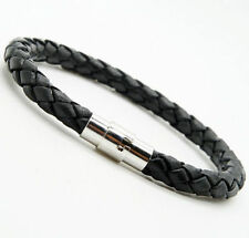 1 pcs Unisex Men's Genuine Braided Leather Steel Magnetic clasp Bracelet