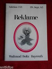 Catalogue vente aux enchères EMAIL panneaux waltraud Boltz Bayreuth 28.09.1985