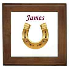 HORSE SHOE PLAQUE CUSTOMISED NAME CERAMIC FRAMED TILE - WALL DECO GREAT GIFT