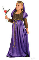 Anglo Saxon Tudor Girl Purple Juliet Medieval Dress Book Costume Outfit New 6-9
