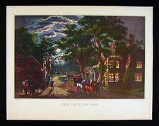 Currier & Ives Print - The Wayside Inn - Moon Light Night Scene Carriage Hotel