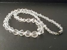 """Vtg Antique Art Deco Clear Crystal Glass Necklace Faceted Graduated 22"""" 69Gr"""