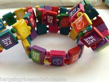 Bright Multi Coloured Peace Stretchy Bracelet Wristband wooden Elasticated