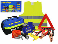 Goodyear 8pc Vehicle Safety Kit Tow Rope Jump Lead Torch Air Compressor Triangle