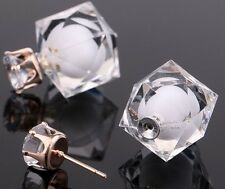 DOUBLE WHITE CUBE BALL BEAD CRYSTAL STUD EAR PLUG  EARRINGS