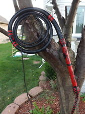 BULL WHIP 8 FOOT BLACK WIDOW BLACK/RED KANGAROO LEATHER BULLWHIP CUSTOM WHIPS