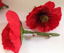Silk Remembrance Day* Memorial Day Poppy Lapel Pin  Large 60mm