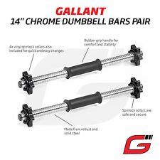 "14"" Standard Dumbbell Bar Chrome Spinlock Collars Weight Lifting Bars Set Pair"