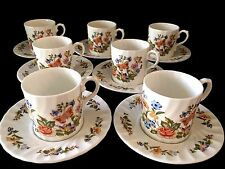Aynsley Bone China Cottage Garden Demitasse Set Bone China White Swirl England