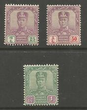 JOHORE SG85-7 THE 1910 EVII TOP 3 VALUES FINE MINT CAT £226