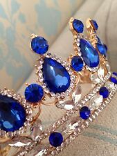 Full Royal Blue Crown . Beauty Pageant Crown / Wedding Crown / Stage . Full