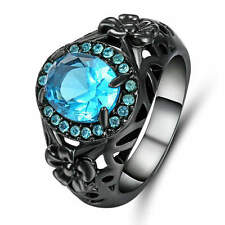Blue Sapphire Crystal Wedding Ring Women's Black Rhodium Plated jewelry Size 8