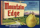 *Original* MOUNTAIN EDGE Yakima Wash Pear Label NOT A COPY!