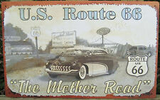 US Route 66 Mother Road TIN SIGN metal vtg antique car art garage wall decor OHW