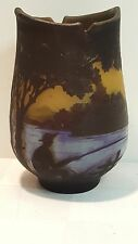 French Galle Cameo art glass water scene vase