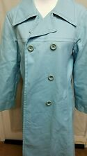 London Fog Sz 14 L Blue 1950's Vtg Women's RAIN Double Breasted Trench COAT