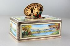 Vintage gilt metal and enamel singing bird box, Automaton by Karl Griesbaum