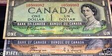 MISPLACED SIGNATURE ERROR.1954 BANK OF CANADA $1