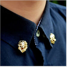 18KGP Lion Head Heraldic Men's Shirt Brooch Pin Royalty Gold Tone Medieval