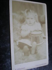 Cdv old photograph girl with toy drum by E Ireland c1880s