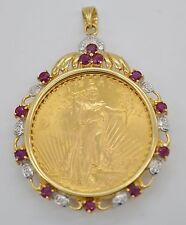 #JC114 1/4 OZ FINE GOLD LIBERTY LADY 1997 COIN 18K DIAMOND BEZEL PENDANT