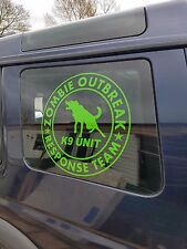 2x ZOMBIE RESPONSE TEAM K9 UNIT LIME FUNNY CAR WINDOW STICKER  DECAL GRAPHIC LR