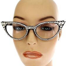 1.25 READING GLASSES with Bright Crystal Studded Bling BLACK Cats Eyes Cat Eye