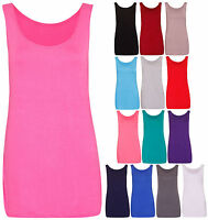 Womens New Sleeveless Ladies Scoop Neck Stretch T-Shirt Vest Tank Top Plus Size