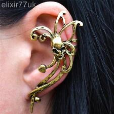 VINTAGE GOLD SKULL SWORD STUD EARRING EAR CUFF WRAP PUNK GOTHIC EMO ROCK GIFT UK