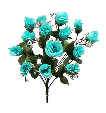 14 Long Stem Roses ~ TURQUOISE TEAL ~ Silk Wedding Flowers Centerpieces Bridal