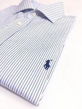 "Ralph Lauren Men's 16.5"" 32/33 Dress Shirt Blue On White Pencil Stripes Size L"