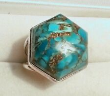 LARGE RAISED SIGNED STERLING SILVER MOSAIC AQUA TURQUOISE RING 8 1/4 12.4 GMS