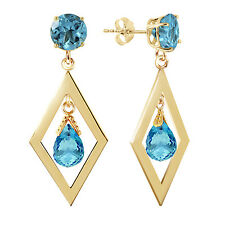 2.4 CTW 14K Solid Gold Euphoria Blue Topaz Earrings