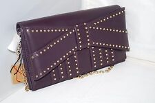 NWT Authentic $200 ZAC POSEN Z Spoke Shirley Style w/ Bow & Gold Studs Chain Bag