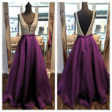 Satin Beaded Purple Black Formal Evening Dress Party Cocktail Prom Gown Backless