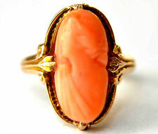 Vintage 10K Solid Gold, Natural Undyed Salmon Red Coral Cameo Ring Size 2 1/4