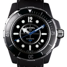Chanel J12 Marine H2558 Black Ceramic 42mm Mens Automatic Watch Rubber Strap
