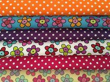 Polycotton Fat Quarters Bundles Flowers Pink Purple Orange Spots Craft Sewing