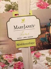 Mary Janes Home Farm Full/Queen Organic Quilt Shabby Chic Floral NEW!