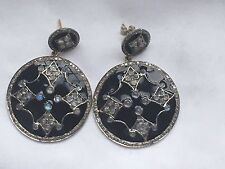 Moonstone Diamond 14k  Gold Sterling Silver Dangle Earrings Enamel