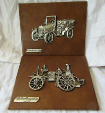 2 x LEATHER & METAL Bollee Merryweather 1884 & Mercedes 1903 Pictures SPAIN