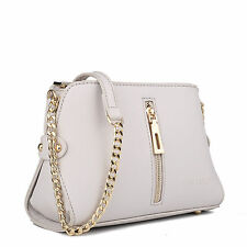 LM1634GY Women Small Gold Chain Strap Handbag Shoulder Tote Bag Satchel Grey