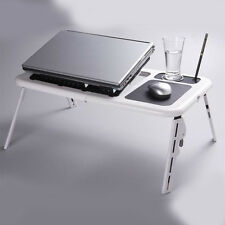 Foldable Table Laptop Lap Desk E-Table Bed With USB Cooling Fans Stand TV Tray