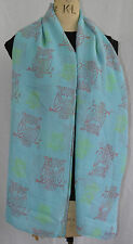 ladies large scarf neon owl print shawl wrap sarong beach quality rrp £12.95!