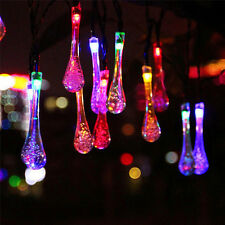 20 LED Water Drop Solar String Lights Fairy Garden Patio Yard Wedding Party Lamp